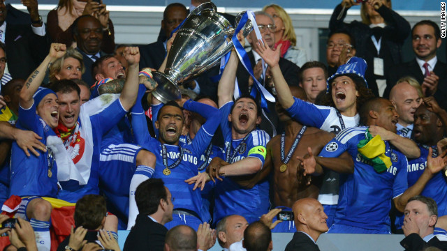 Chelsea's players lift the Champions League for the first time after their dramatic win over Bayern Munich.