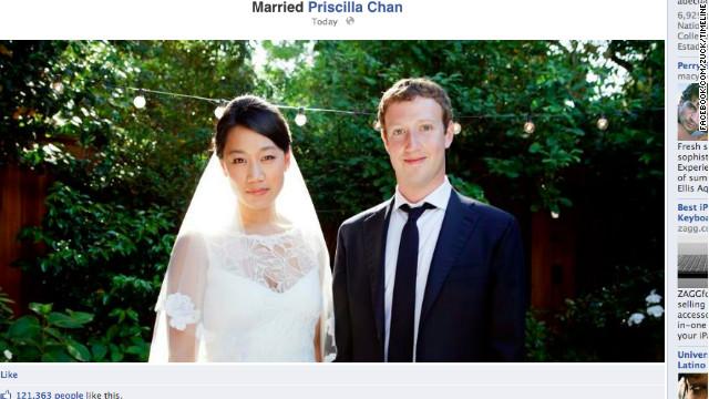 """Mark Zuckerberg actualizó su estatus de Facebook a """"casado"""""""