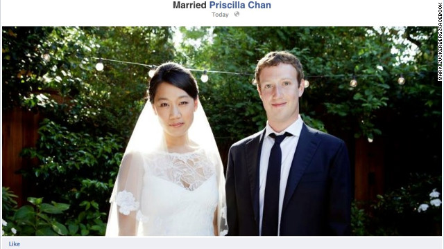 Facebook founder Mark Zuckerberg marries his longtime girlfriend Priscilla Chan on May 19, 2012.