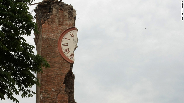 The clock tower in Finale Emilia, Italy, was badly damaged in Sunday's earthquake. 