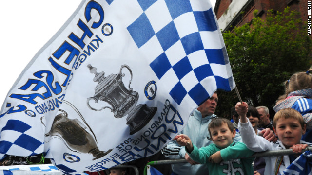Chelsea fans packed the streets around southwest London to see the victory parade