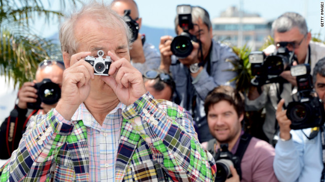 "Bill Murray poses with a miniature camera at the photocall for ""Moonrise Kingdom"" on Wednesday, May 16. The latest film from director Wes Anderson served as this year's curtain raiser."