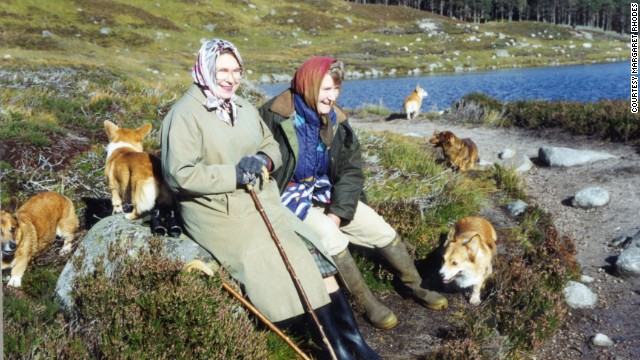 Rhodes sits resting with the Queen during a trek through deer-stalking area at Balmoral. <br/><br/>