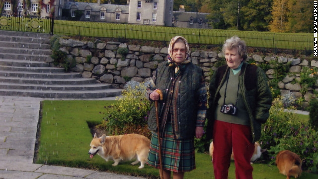 Rhodes and the queen in Balmoral, Her Majesty's Scottish residence.