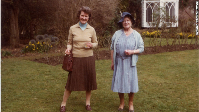 Rhodes pictured with the Queen Mother in 1982.