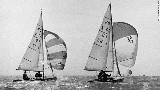 "Sailing legend and clothing company founder Keith Musto is seen here fighting for second place against a French rival during the 1964 ""Flying Dutchman"" European championships. He and his sailing partner went on to win a silver medal at that year's Olympic Games in Tokyo."