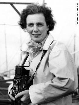 Ramsay's career took off in the 1950s and 1960s, when the sport of sailing enjoyed a post-war explosion in Britain. Here she is with her trusted Rolleiflex camera in the summer of 1963.