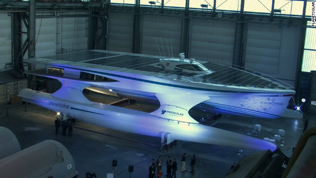 The $16 million catamaran weighs 60 tons and is over 30 meters long. 