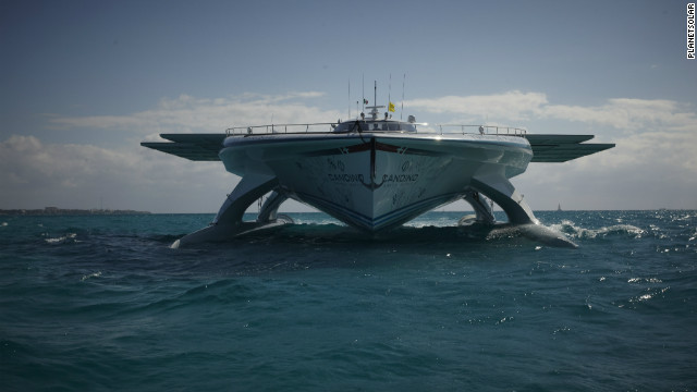 "Although the unusual looking boat is more reminiscent of the ""Starship Enterprise"" than an average yacht, skipper Domjan is keen to demonstrate that its solar technology has practical applications for the present day."