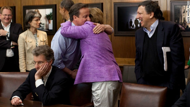 Despite England's Chelsea overcoming Bayern of Germany, Cameron and Merkel were able to embrace at the end of a thrilling contest.
