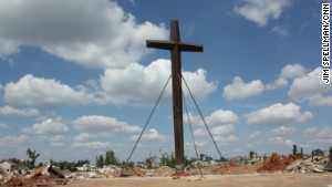The cross from St. Mary\'s church, which withstood the destruction of the tornado, will soon be part of a small park.