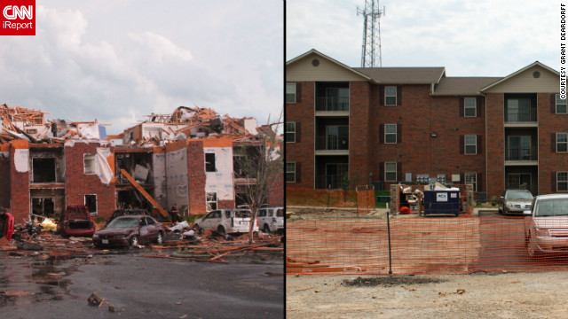 "When Deardorff visited this apartment building off 20th Street in the hours after the tornado, ""all the cars were just flipped over, and every smoke alarm in every one of those apartments was going off,"" he said. A year later, the complex has been rebuilt."