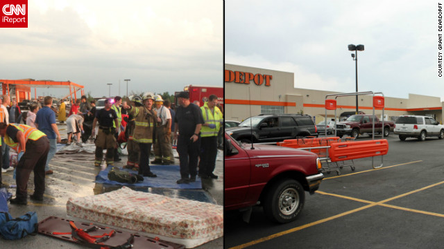 "The leveled Home Depot became a staging area for emergency workers. A new store opened in January. The site went from ""such a site of devastation and tragedy to a beautiful new store where people can show up and buy their new hammer,"" <a href='http://ireport.cnn.com/people/gdeardorff'>Grant Deardorff</a> said."