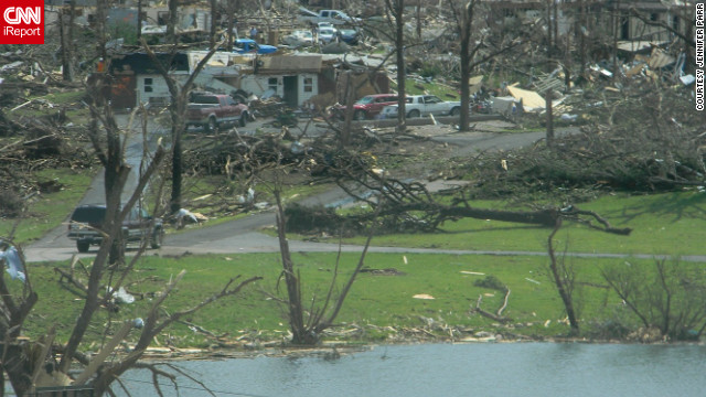"<a href='http://ireport.cnn.com/people/missyjenjen'>Jennifer Parr</a> shot this photo in southwest Joplin two days after the tornado. ""As devastating as the scenes are, I felt I should take these pictures to help document the aftermath of this historic storm,"" she said at the time."