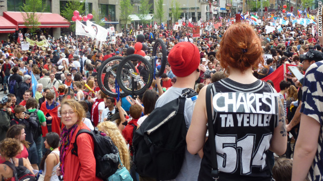 Thousands unhappy with planned tuition hikes in Quebec protested Tuesday afternoon in Montreal.