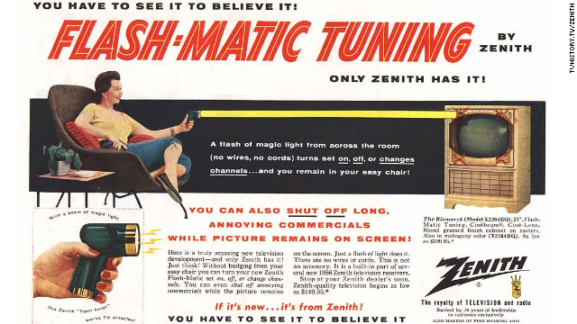 A 1956 ad for Flash-Matic, the remote control Eugene Polley invented for Zenith.