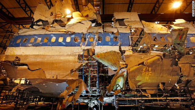 The reconstructed remains of Pan Am Flight 103, used by investigators, lie in a warehouse in England.