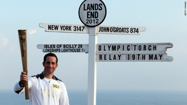 Olympic gold medal sailor Ben Ainslie is the first relay runner on British soil. The flame began its journey at Land's End, the most westerly tip of mainland Britain.