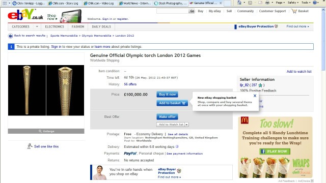 Dozens of torch bearers have put their prized mementos up for sale on eBay, with sellers seeking up to 100,000. In some cases the money has been offered to charity. 