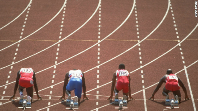 The 1988 100 meters final was arguably the most anticipated in the sport's history. Johnson (far right) and Lewis (far left) were the favorites, along with Calvin Smith (second from right) from the U.S. and a young Linford Christie (second from left) from Great Britain. 