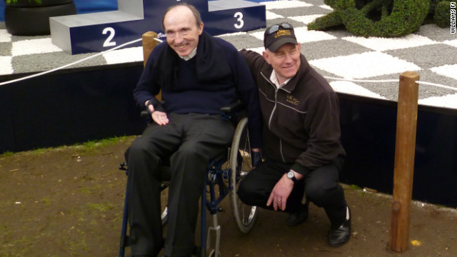 Williams co-founder and team principal Frank Williams alongside Paul King, the owner of the King and Co nursery.