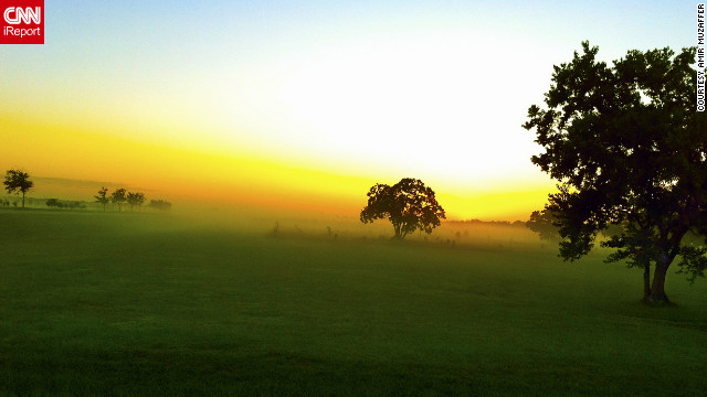Fog over Houston, Texas creates a hazy, peaceful sunrise in George Bush Park.