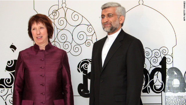 Iran's chief nuclear negotiator, Saeed Jalili, right, poses with EU foreign policy head Catherine Ashton.
