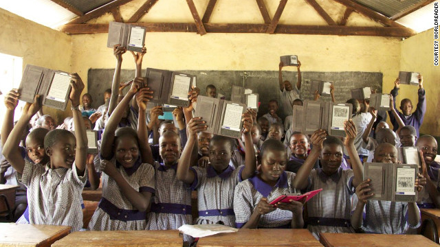 Students show off their e-readers at Menara Primary School, Mnara, Kenya. Worldreader is currently operating in Kenya, Ghana and Uganda, and will soon start projects in Rwanda.
