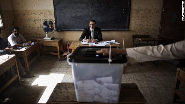Electoral officials monitor voting in Namul, a village north of Cairo, on Thursday, May 24, 2012, the second and final day of voting in Egypt's historic presidential election. Egypt is holding its first presidential election since last year's toppling of Hosni Mubarak, part of the wave of Arab Spring uprisings.