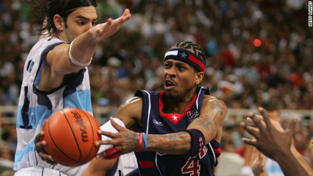 Luis Scola gets up close to Allen Iverson during Argentina's semifinal win over the United States at the 2004 Athens Olympics.