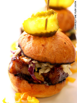 Pork belly sliders, a customer favorite at One Flew South.