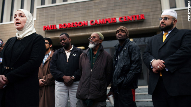 Muslim community leaders hold a news conference in February at Rutgers University to address police surveillance of Muslims.