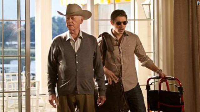 Larry Hagman, left, returns as J.R. Ewing in the new incarnation of the TV drama. Josh Henderson plays John Ross Ewing.
