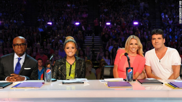 L.A. Reid (far left), Demi Lovato, Britney Spears and Simon Cowell during a taping of