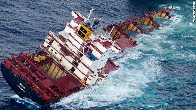 At least 350 tons of fuel oil to spewed into the sea when the Rena ran aground off New Zealand in October last year.
