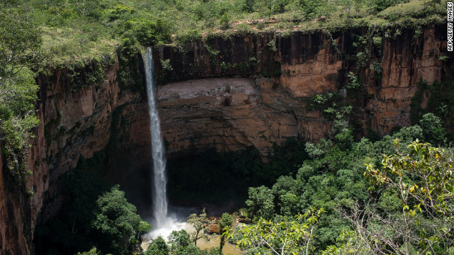 Brazil contains many natural wonders like the Veu de Noiva waterfall in Chapada dos Guimaraes national park.