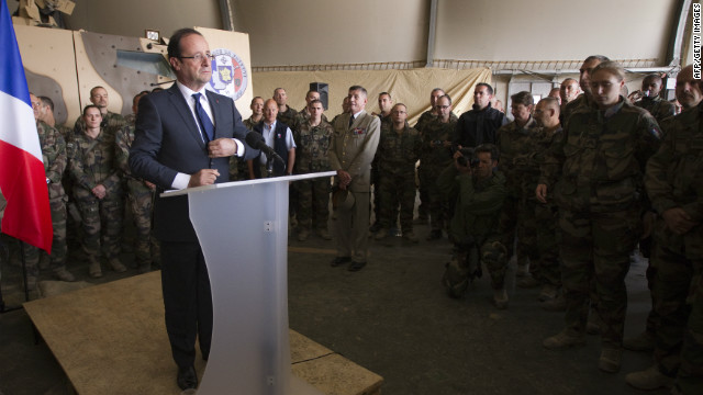 French President Franois Hollande gives a speech Friday during a visit to a military base in Kapisa, in Afghanistan.