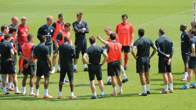 Communication is 80% to 90% of management, according to Ramon Vega. Here, England coach Roy Hodgson gets his message across to his players.