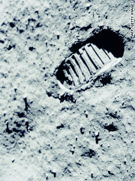 Neil Armstrong (whose footprint is shown on the moon's surface) had to override the Eagle lunar module's autopilot in order to prevent the craft from landing on the slope of a crater.