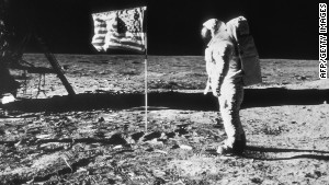 Neil Armstrong took this photo of Buzz Aldrin next to the U.S. flag on the surface of the moon.