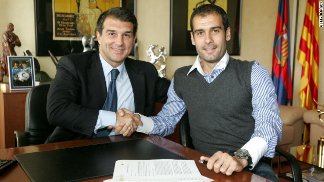 After a spell coaching Barcelona's 'B' team, in which he delivered promotion to the second tier of Spanish football, Guardiola was handed the top job in June 2008 by then president Joan Laporta (L).
