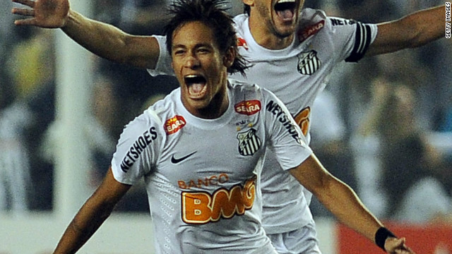 Striker Neymar, who has been linked with a host of European clubs, celebrates Santos' win.
