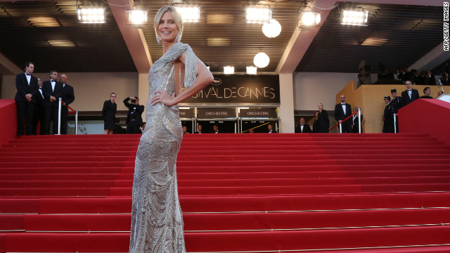 "Model Heidi Klumarrives for the screening of ""The Paperboy"" at Cannes on Thursday."