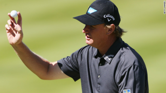 Ernie Els completes his third round 70 at Wentworth but was critical of the state of the course in his later press conference. 