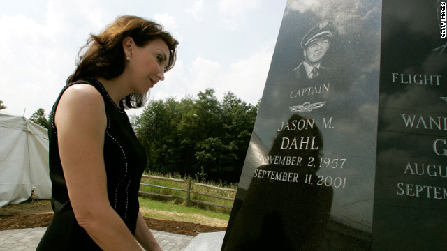 Sandy Dahl in 2006 looks at a memorial that includes a likeness of her husband, Jason Dahl, in Shanksville, Pennsylvania.