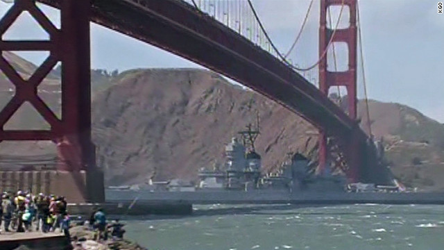 Battleship USS Iowa begins journey down California coast