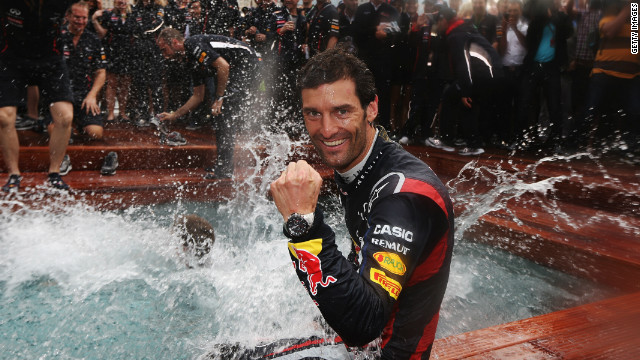 Webber takes a post-race dip as the Red Bull team celebrate another Monaco GP triumph in May. It was the second time in three years that Webber had won the sport's prestigious race.