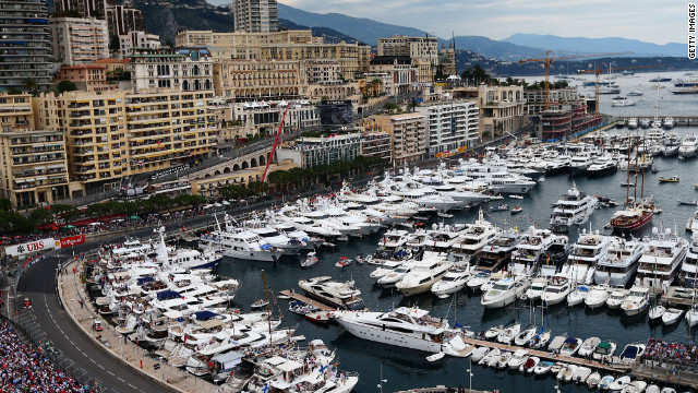 A view of the track from the harbor area of Monte Carlo which is part of the tight street circuit for the Monaco Grand Prix.