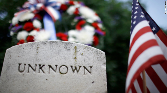 U.S. military veterans lay a wreath at the grave of an unknown Union soldier who died in the Civil War during a ceremony Friday at the Congressional Cemetery.