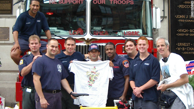 Baluchi donated a bicycle to the firefighters of Engine 33 Ladder 9, who suffered tragic losses as a result of the 9/11 terror attacks on the World Trade Center.